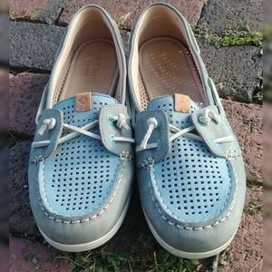 Pastel blue leather perforated Sperry boat shoes